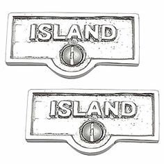 2 Switchplate Chrome Over Brass ISLAND Switch Tag Chrome 1 11/16 in. W