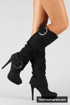 Cute black suede slouch tall boots with stiletto heels, buckles, zipper, and platform. (If I wore heels and decided to spend lots of money on shoe wear. i love these boots. Cute Boots, Sexy Boots, Tall Boots, Knee High Boots, Black Boots, Black Suede, Black Heels, Botas Sexy, Crazy Shoes