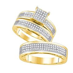 0.74 Carat (ctw) 10K Yellow Gold Diamond Men's & Women's Micro Pave Engagement Trio Bridal Set 3/4 CT