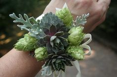This on wrist for those don't have bouquet. Like sisters, MC, etc. Hops and succulent wrist corsage by bohemianbouquets on Etsy, $25.00