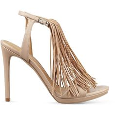 Kendall + Kylie Aries Fringe High Heel Sandals ($49) ❤ liked on Polyvore featuring shoes, sandals, bohemian sandals, fringe sandals, heeled sandals, boho style shoes and fringe shoes