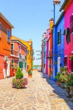 old house flower sea: Venice, landmark, Burano island, canal, colorful, houses…