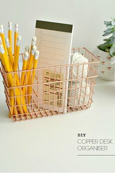 The easiest way to upgrade one of those cheap wire baskets? Copper spray paint. | 17 Easy And Colorful DIYs That Are Perfect For Spring