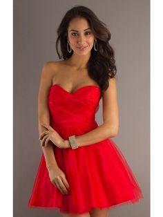 Corte a/princesa estrapless corto vestido - Missydress.es