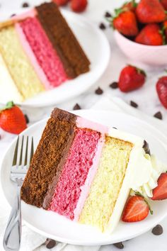 This Neapolitan Cake is a decadent dessert inspired by the iconic neapolitan ice cream! You'll fall in love with the classic combination of strawberry, chocolate and vanilla all over again – it tastes even better in cake form. You're welcome! Baking Recipes, Cake Recipes, Dessert Recipes, Delicious Desserts, Mini Cakes, Cupcake Cakes, Cake Cookies, Cupcakes, Neapolitan Cake
