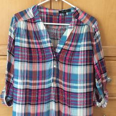 Plaid tunic style top. Bought from a boutique Light weight, soft material. Tab sleeves. Perfect condition Tops Blouses