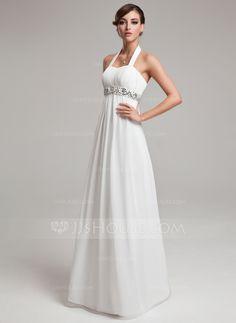 Empire Halter Floor-Length Ruffle Beading Sequins Zipper Up Regular Straps Sleeveless Beach Hall General Plus No Spring Summer Ivory Chiffon Wedding Dress