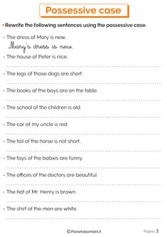 English Lessons For Kids, Kids English, English Grammar, Teaching English, English Primary School, Common And Proper Nouns, Possessive Nouns, Kindergarten Worksheets, Esl