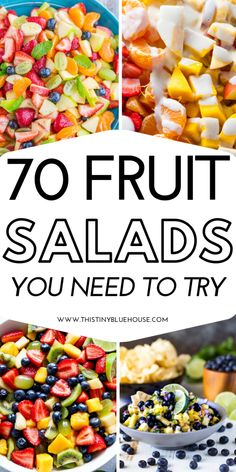 Here are 70 delicious easy fruit salad recipes that are perfect for summer including BBQs, parties, easy desserts and even afternoon snacks! salad 70 Easy Fruit Salad Recipes Perfect For Summer - This Tiny Blue House Easy Pasta Salad Recipe, Fruit Salad Recipes, Drink Recipes, Quick Snacks, Healthy Snacks, Healthy Recipes, Fruit Snacks, Fruit Fruit, Fruit Slime