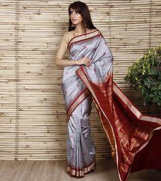 Grey Sambalpuri Silk Saree with Bomkai Design