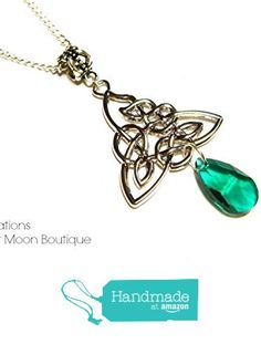 Celtic Knot Necklace Emerald Green Tear Drop Bead Simple Silver Plated Handmade by Artisan Angie Pinkal from Harvest Moon Boutique https://www.amazon.com/dp/B01E2QHK82/ref=hnd_sw_r_pi_dp_t.Syxb5235PC9 #handmadeatamazon