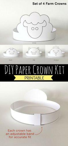 DIY Printable Paper Crown Kit, Farm Animals, Coloring #diy #printable #papercrafts #farmanimals #preschool #preschoolers #prek #toddlers #homeschool #homeschooling #daycare #ad