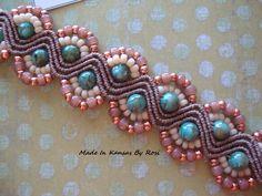 Micro-Macrame Hereingbone with turq brown multi bead