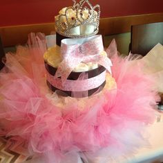 Pink chevron damask baby shower diaper cake!  See more party ideas at CatchMyParty.com!