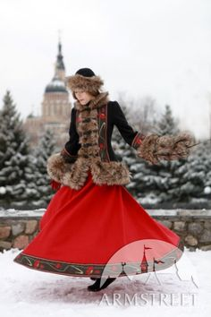 "Russian style woolen long skirt ""Russian seasons"" warm skirt Russian national traditional costume"