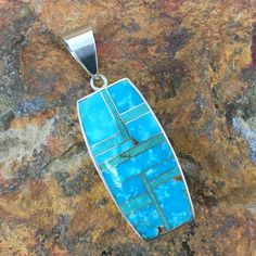 David Rosales Watermark Turquoise Inlaid Sterling Silver Pendant