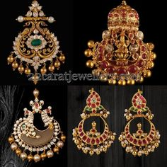 Latest Collection of best Indian Jewellery Designs. New Gold Jewellery Designs, Gold Earrings Designs, Gold Jewelry, Jewelery, Jewelry Design, Ruby Jewelry, Ear Jewelry, Gold Jhumka Earrings, Antique Earrings
