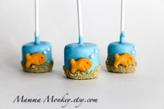 12 Goldfish Aquarium Marshmallow Pop Party Favors by mammamonkey
