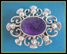 SCOTTISH ANTIQUE VINTAGE THISTLE BROOCH WITH STONE