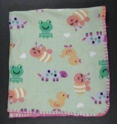 Green Fleece FROG BEE TURTLE DUCK Baby Blanket Soft 30x32 B415