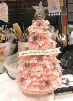 Daisy Pink Cupcake: ~Crepe Paper Christmas Tree & Cupcake Ornaments~