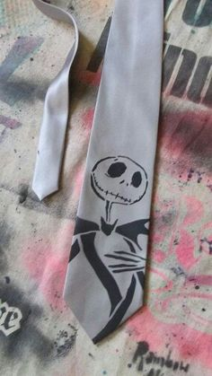 Buy Jack Skellington Nightmare Before Christmas neck tie hand stenciled & spray painted by Rainbow Alternative on Etsy at Wish - Shopping Made Fun Jack Skellington, Nightmare Before Christmas Wedding, Jack The Pumpkin King, Emo, Up Book, Jack And Sally, Gothic Wedding, Halloween, Geek Stuff