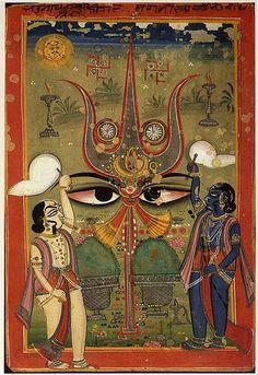 Worship of the Trident, the Symbol of Shiva. Jaipur. 1775-1800