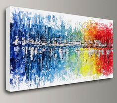 Custom, made2order painting by artist Baron Visi. -Size: 24x48x1.5 -Medium: mixed media -Dominant Colors: white, blue, green, red, orange -Signed and dated on the back by the artist The sides of the canvas are painted. The canvas can be hanged as is -no staples appear on its sides.