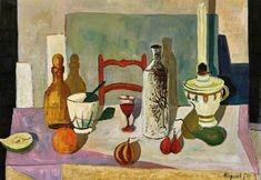 Georges Borgeaud - Nature Morte à La Lampe, 1967 - Huile sur toile, 81 x 116 cm. Painting, Art, Oil On Canvas, Art Background, Painting Art, Kunst, Paintings, Performing Arts, Painted Canvas
