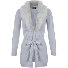 Miss Selfridge Petites Grey Faux Fur Cardigan ($38) ❤ liked on Polyvore featuring tops, cardigans, grey, petite, grey top, faux fur top, faux fur cardigan, cardigan top and gray top