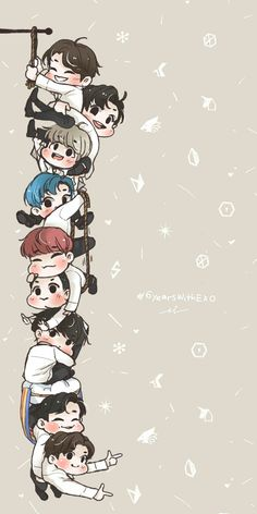Ideas Wall Paper Bloqueo Anime For 2019 Kpop Exo, Exo Chanyeol, Exo Chen, Chibi Wallpaper, Cartoon Wallpaper, Chibi Exo, Exo Cartoon, Exo Stickers, Bts Cute