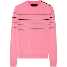 Jonathan Saunders Jasper wool sweater ($220) ❤ liked on Polyvore featuring tops, sweaters, pink, jonathan saunders, loose tops, striped wool sweater, stripe sweater and pink sweater