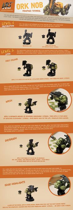 Here is a an Ork Nob Painting Tutorial (Part 1) www.facebook.com/artofthemini