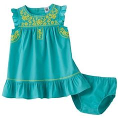 Amazon.com: Carters Baby Girl 2 Piece Embroidered Turquoise Sundress and Diaper Cover, 3 Months: Clothing