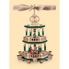 """Weihnachtspyramide     """"Heilige Geschichte""""    2-stöckig, farbig    26x26x40cm"""
