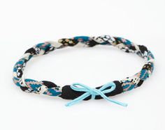 Braided Headband in Teal Maze Snakeskin and by thiefandbanditkids, $20.00
