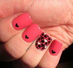 Nail Polish Creations: Hearts with Homemade Nail Decal