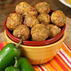 Skinny Jalapeño Popper Meatballs pack all the flavor of your favorite decadent poppers, with less fat and calories & in a popable meatball!