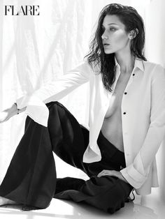 Model Bella Hadid wears Calvin Klein Collection top and pants for FLARE Magazine October 2016 issue