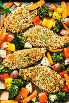 One Pan Crispy Walnut Herb Chicken and Vegetables is a delicious meal all made in one pan! The chicken gets coated with a nutty walnut herb coating and is surrounded by tender veggies. This is sure to be a hit! Salmon Recipes, Chicken Recipes, Tuscan Garlic Chicken, Sheet Pan Suppers, Cooking Recipes, Healthy Recipes, Breast Recipe, Slow Cooker Chicken, Crispy Chicken