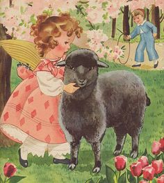 Two Crazy Crafters: Baa, Baa, Black Sheep illustration from a children's book - for nursery Sheep Nursery, Nursery Rhymes, Vintage Children's Books, Vintage Cards, Vintage Images, Sheep Illustration, Baa Baa Black Sheep, Childhood Stories, Vintage Nursery