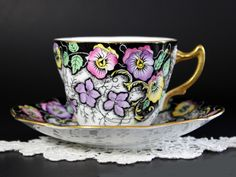 Rosina Teacup and Saucer, Pansy Chintz, Vintage Tea Cup, Made in England 13083