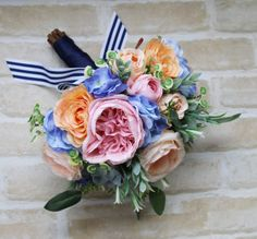 POST CHRISTMAS SALE Wedding Bouquet. Roses, succulents, hydrangea, wildflowers and eucalyptus foliage.  Bouquet in pink, blue and coral
