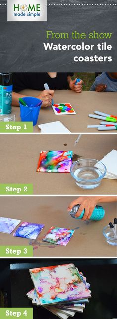 Make your own tile coasters using permanent markers and rubbing alcohol. This easy DIY craft is fun for the whole family! For more craft ideas, watch Home Made Simple, Saturdays, 9am/8C on OWN.
