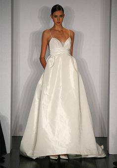 1000 images about white dresses on pinterest debutante for Spaghetti strap wedding dress with pockets