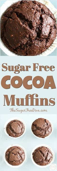Sugar Free Cocoa Muffins- easy recipe for breakfast or even for a snack. Muffins that can fake for cupcakes too- chocolate and cocoa Diabetic Desserts, Low Carb Desserts, Diabetic Recipes, Dessert Recipes, Cooking Recipes, Diabetic Foods, Diabetic Cake, Diabetic Muffins, Sweets For Diabetics