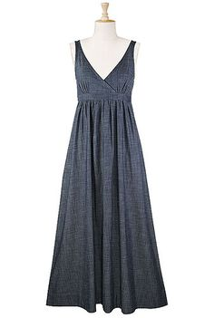 Shirred denim chambray maxi dress - Love this dress and this site!!! SO MANY CUTE DRESSES!!!!