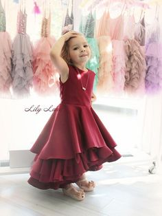 d7032ced1c96 Burgundy girls dress ruffle girl dress wine red dress baby girl dress girls  size 7 burgundy baby dre