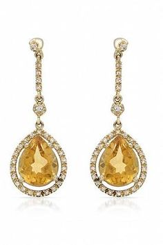 4.32 CTW Citrine 14K Gold Earrings - Enviius