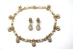 Bulgari Pearl Diamond Gold Necklace and Earrings 1998